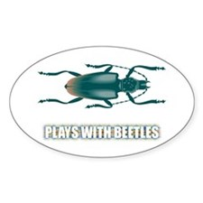 Plays With Beetles Oval Stickers