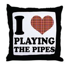 I Heart Playing The Pipes Throw Pillow