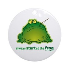 Funny Orchestra Strings Frog Ornament (Round)