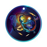 Blue Galaxy Dragon Ornament (Round)