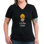 Crochet Chick Women's V-Neck Dark T-Shirt