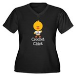 Crochet Chick Women's Plus Size V-Neck Dark T-Shir