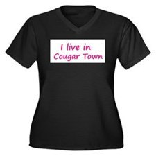 I live in Cougar Town Women's Plus Size V-Neck Dar