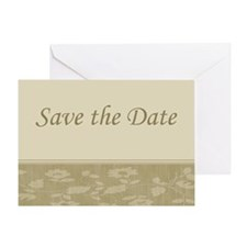 Save the Date floral beige Greeting Card