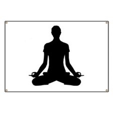 modern Yoga pose black Banner