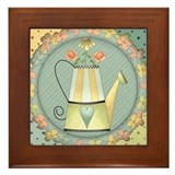 Country Watering Can Framed Tile