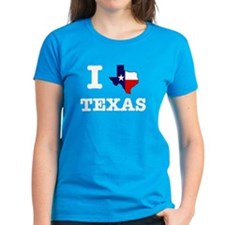 I Texas Texas Women's Blue T-Shirt