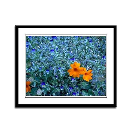 Electric Blue Framed Panel Print