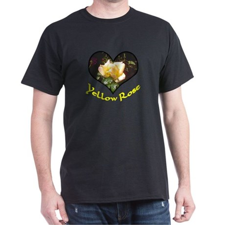 Yellow Rosebud Black T-Shirt