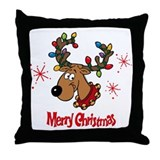 Merry Christmas Rudolf Throw Pillow