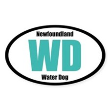 Newfoundland Water Dog Title Sticker (Oval)