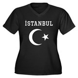 Istanbul Women's Plus Size V-Neck Dark T-Shirt