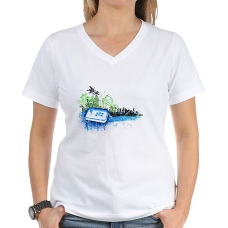 Urban City Arcade Stick Women's V-Neck T-Shirt