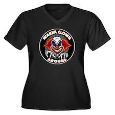 Evil Clown Women's Plus Size V-Neck Dark T-Shirt