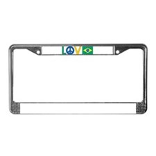 Love Peace Brazil License Plate Frame