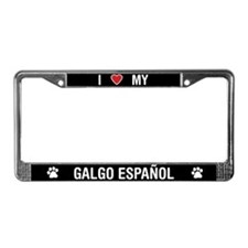 I Love My Galgo Espanol License Plate Frame