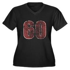 60th Birthday Red Grunge Women's Plus Size V-Neck