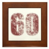 60th Birthday Red Grunge Framed Tile