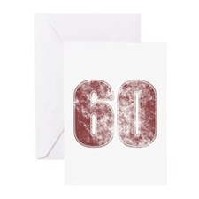 60th Birthday Red Grunge Greeting Cards (Pk of 20)