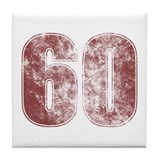 60th Birthday Red Grunge Tile Coaster