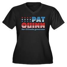 Quinn for Governor Women's Plus Size V-Neck Dark T
