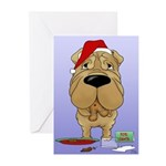Shar-Pei Santa's Cookies Greeting Cards (Pk of 10)