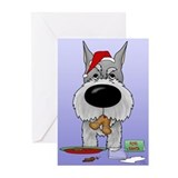 Schnauzer Santa's Cookies Greeting Cards (Pk of 10