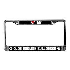 Love My Olde English Bulldogge License Plate Frame