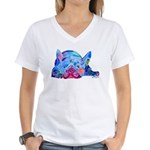 French Bulldog Frenchies Women's V-Neck T-Shirt