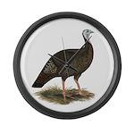 Turkey: Eastern Wild Hen Large Wall Clock