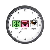 Peace Love Beagles Wall Clock