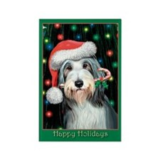 Bearded Collie Happy Holidays Rectangle Magnet (10