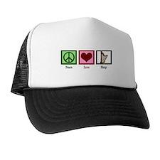 Peace Love Harp Trucker Hat