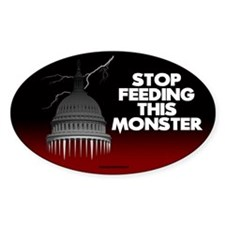 Stop Feeding This Monster Oval Sticker (10 pk)
