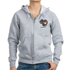 Black Tan Pomeranian Zip Hoodie