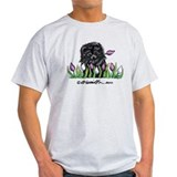 Black Pomeranian Tulips T-Shirt