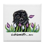 Black Pomeranian Tulips Tile Coaster