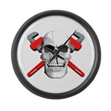 Plumbers Skull Large Wall Clock