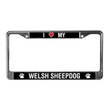 I Love My Welsh Sheepdog License Plate Frame