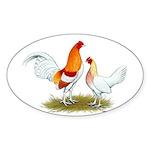 Old English Bantam: Red Pyle Sticker (Oval 50 pk)