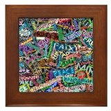 graffiti of the word peace tr Framed Tile