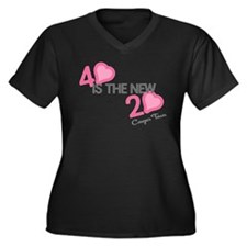 Heart 40 is the New 20 Women's Plus Size V-Neck Da