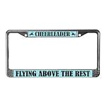 Cute Cheerleader Flying Above License Frame