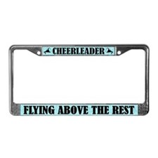 Cute Cheerleader Flying Above License Frame