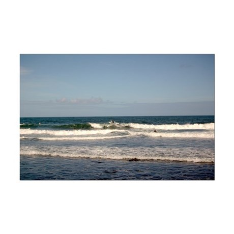 Surfers at Honoli'i Beach Mini Poster Print