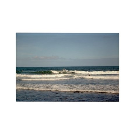 Surfers at Honoli'i Beach Rectangle Magnet