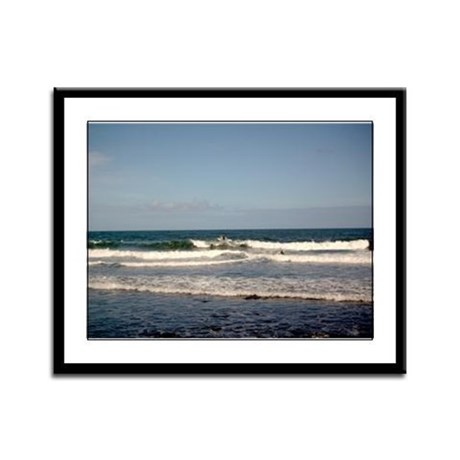 Surfers at Honoli'i Beach Framed Panel Print