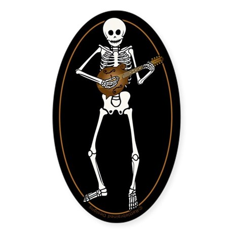 Skeleton Mandolin Sticker (Oval)