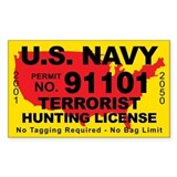 U.S. Navy Terrorist Hunting License Bumper Stickers