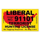 Liberal Terrorist Hunting License Decal